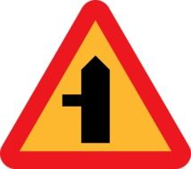 triangular side road sign