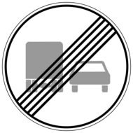 end of action road sign overtaking freight prohibited