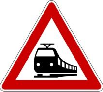 red sign with train
