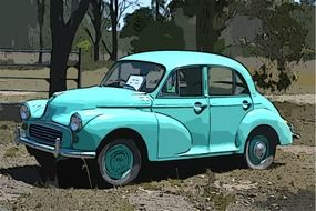 old turquoise morris minor among nature
