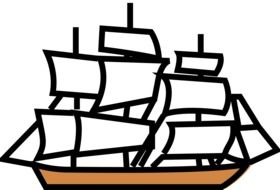 drawing ship with sails
