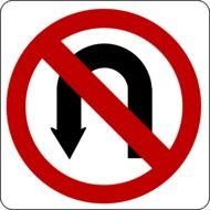 clipart of no turn road sign