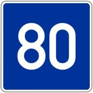 80 km recommended road sign