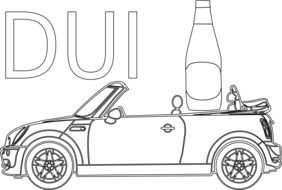 drawing a car with a bottle