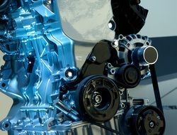model of car engine closeup