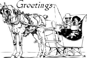 horse carriage greetings card drawing