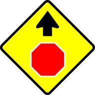 stop, warning sign with arrow