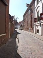 empty narrow street in the city of Amersfoort