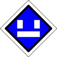 picture of blue train traffic sign