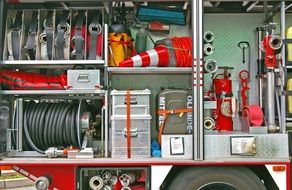 equipment in the middle of a fire truck