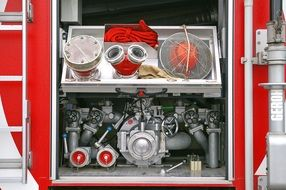 Rear view of the contents of a fire truck
