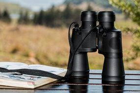 binoculars black spy glass
