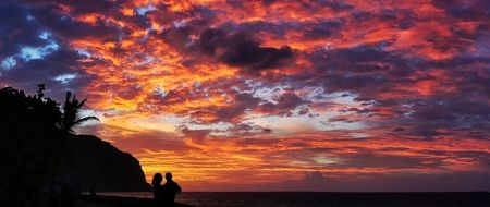 couple against the backdrop of an incredible sunset