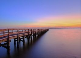 sunset, pier jetty ,water, evening