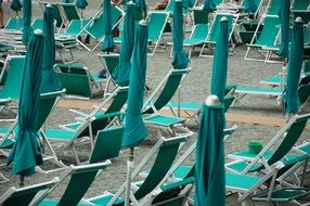 beach bonassola umbrellas sea