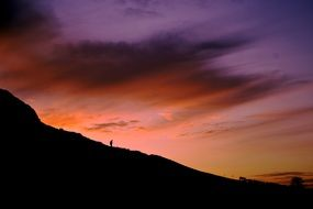 silhouette of a man on a slope against a sunset
