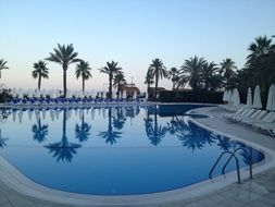 empty swimming pool in the evening