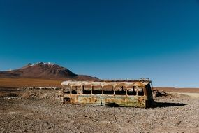 old bus in the wild abandoned