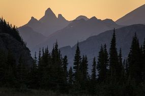 mountains silhouettes in the dusk