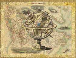 vintage map and compass drawing