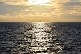 Sea view sunset ship