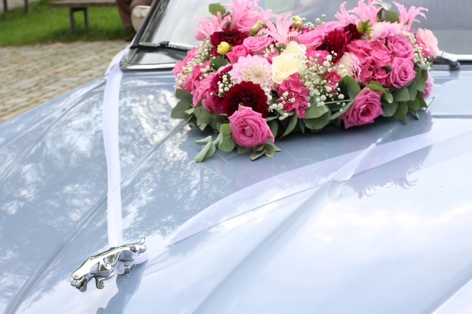 Wedding flowers on Jaguar