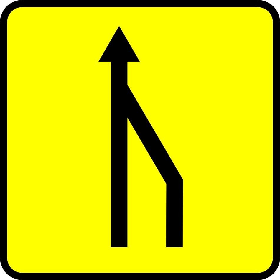 sign road narrowing in one road