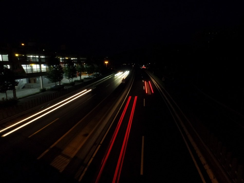 highway with fire at night