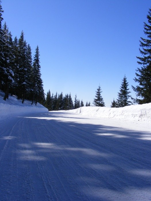 white snow mountain road