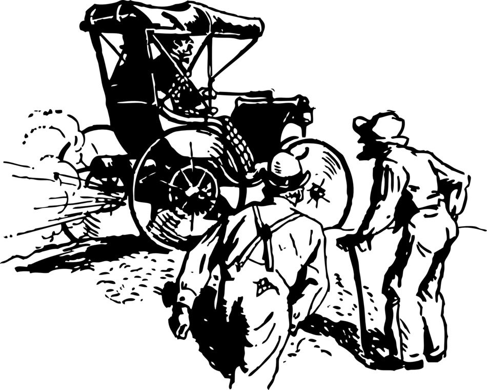 Black and white drawing of the old car clipart