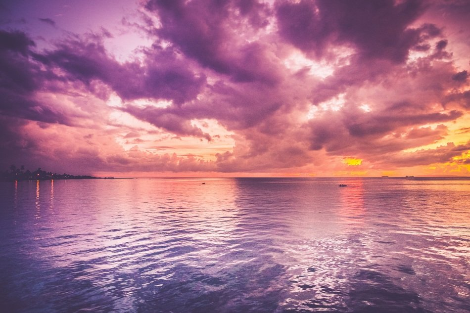 purple sunset over the ocean