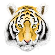Raster Portrait of a Tiger Beautiful face big cat
