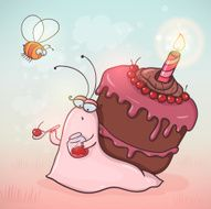Cute cartoon snail with cherry cake on her back
