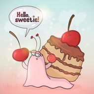 Cute cartoon snail with cherry cake on her bac