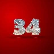vector set of aluminum or silver foil numbers 3 4