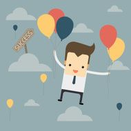cartoon businessman flies with balloons to success