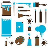 Blue brown art tools