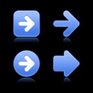 Blue arrow sign softness icon circle square web internet button