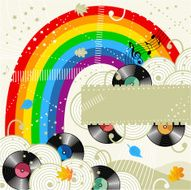 Rainbow and vinyl records music background