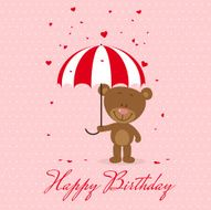 happy birthday, greeting card, Little bear with umbrella and flying hearts