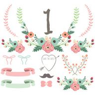Hand Drawn Flower Wedding set - Illustration
