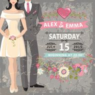 Cute wedding invitation Bride groom floral elements N2