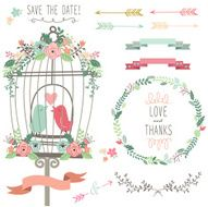 Retro Love Birdcage and Wedding Flowers- Illustration N2