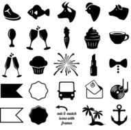 Vector Collection of Wedding and Party Themed Icons