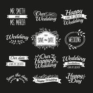 Set of wedding vintage retro logos Typographical with floral elements N2
