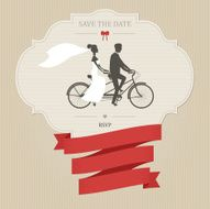 Funny wedding invitation with tandem bicycle N2