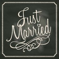 Just Married lettering sign on chalkboard background N2