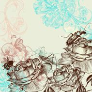 Fashion floral background with roses N2