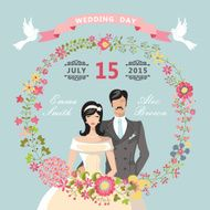 Cute Wedding invitation Floral wreath cartoon bride groom N2