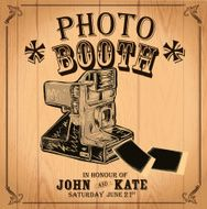 Vintage Photo booth design template on wood background N2